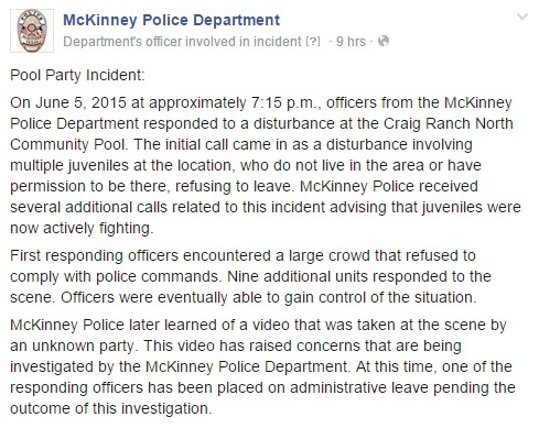 McKinney Police Department Statement